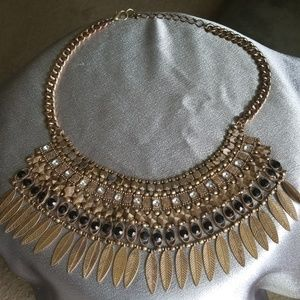 Necklace - Gold & Black with Feathers